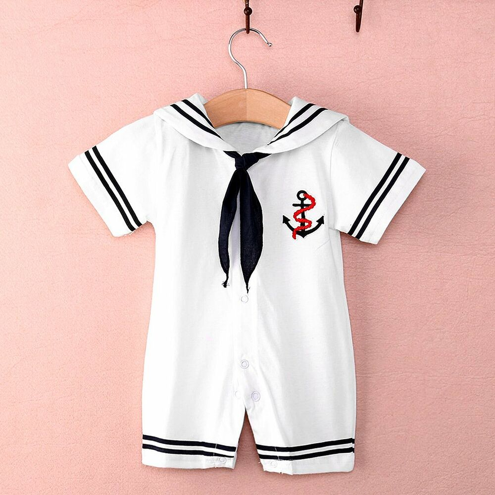Newborn Kids Baby Boys Infant Sailor Romper Jumpsuit ...