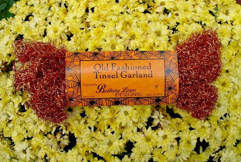 Bethany lowe old fashioned halloween tinsel garland orange