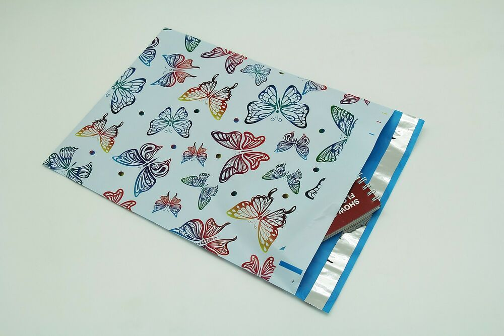 100 10x13 butterfly designer poly mailers envelopes for 10x13 window envelope