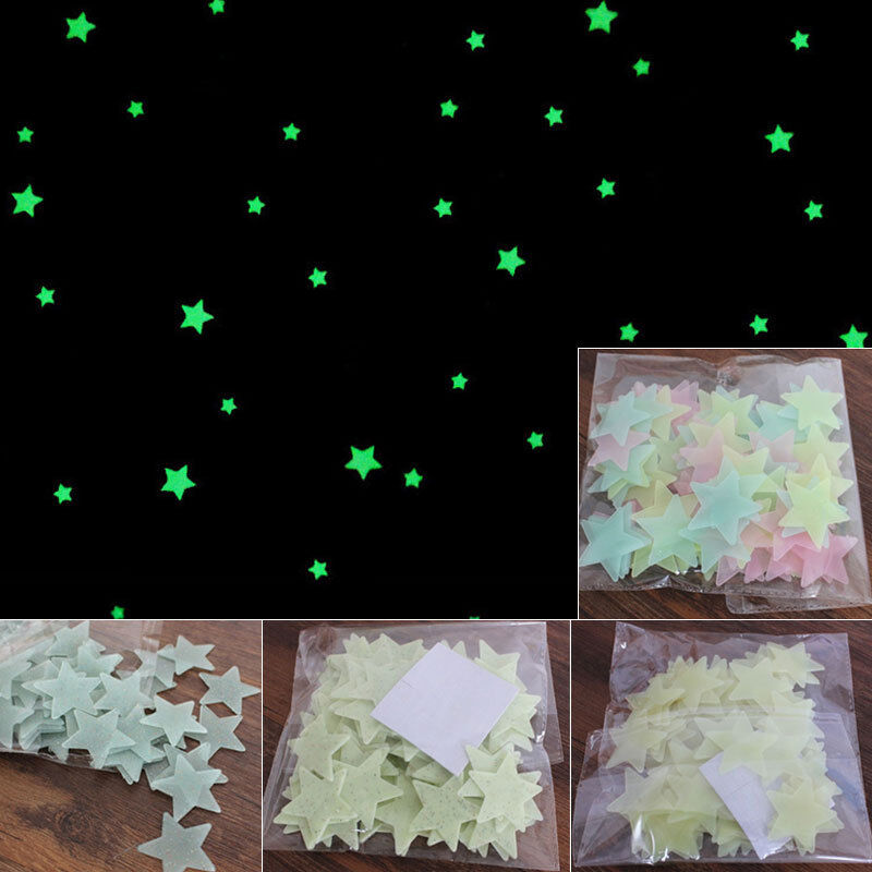 100 Wall Glow In The Dark Stars Stickers Kids Bedroom