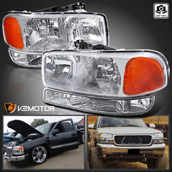 Kyпить For 1999-2006 GMC Sierra 00-06 Yukon XL Clear Headlights+Bumper Signal Lamps L+R на еВаy.соm