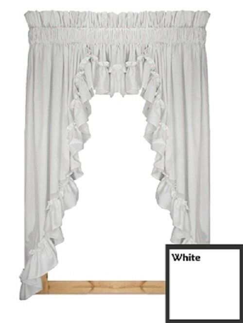 Stephanie Country Ruffled 3pc Swag Curtain Amp Valance