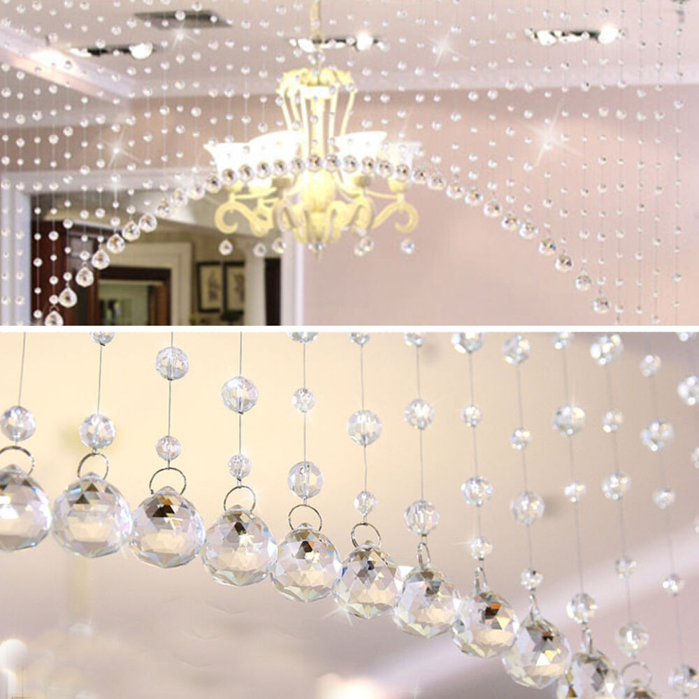 1m crystals beads strand string net curtains hanging for Decoration decoration