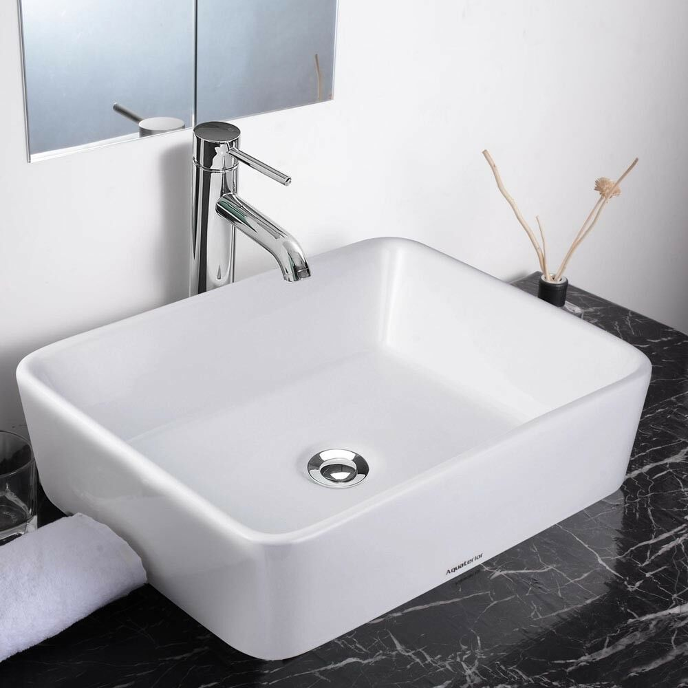 Aquaterior 19 rectangle porcelain ceramic vessel sink w for Bath sink and toilet packages