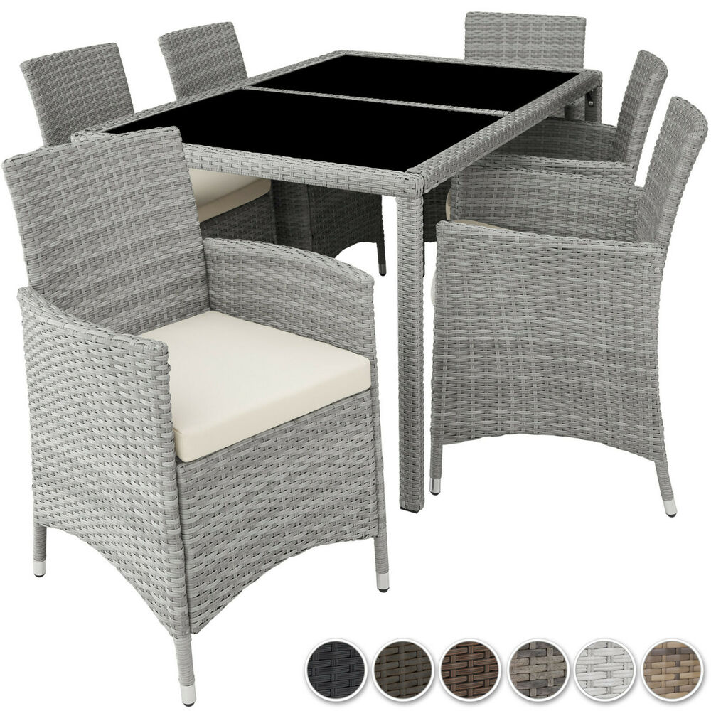 poly rattan gartenm bel essgruppe sitzgruppe gartengarnitur gartenset ebay. Black Bedroom Furniture Sets. Home Design Ideas