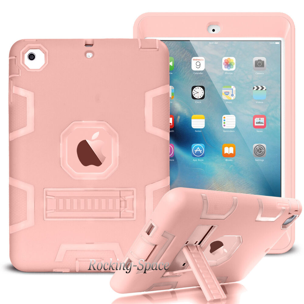 rose gold shockproof heavy duty stand hard case cover for apple ipad mini 1 2 3 ebay. Black Bedroom Furniture Sets. Home Design Ideas