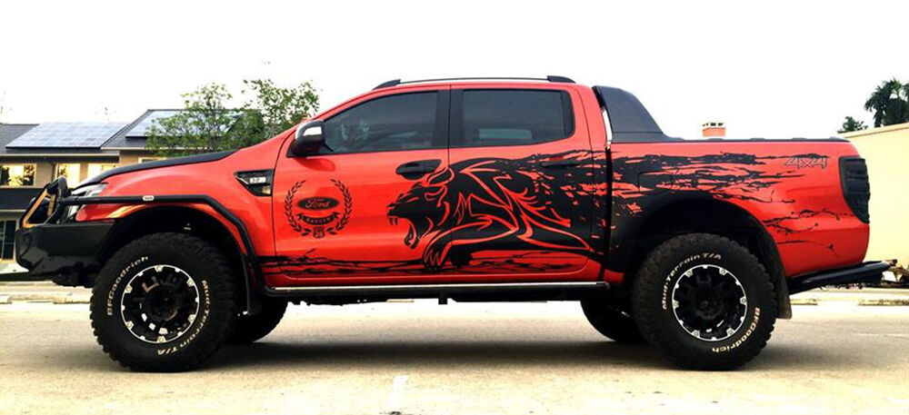 MATT MATTE BLACK TIGER MUD DESIGN STICKER FORD RANGER T6 ...