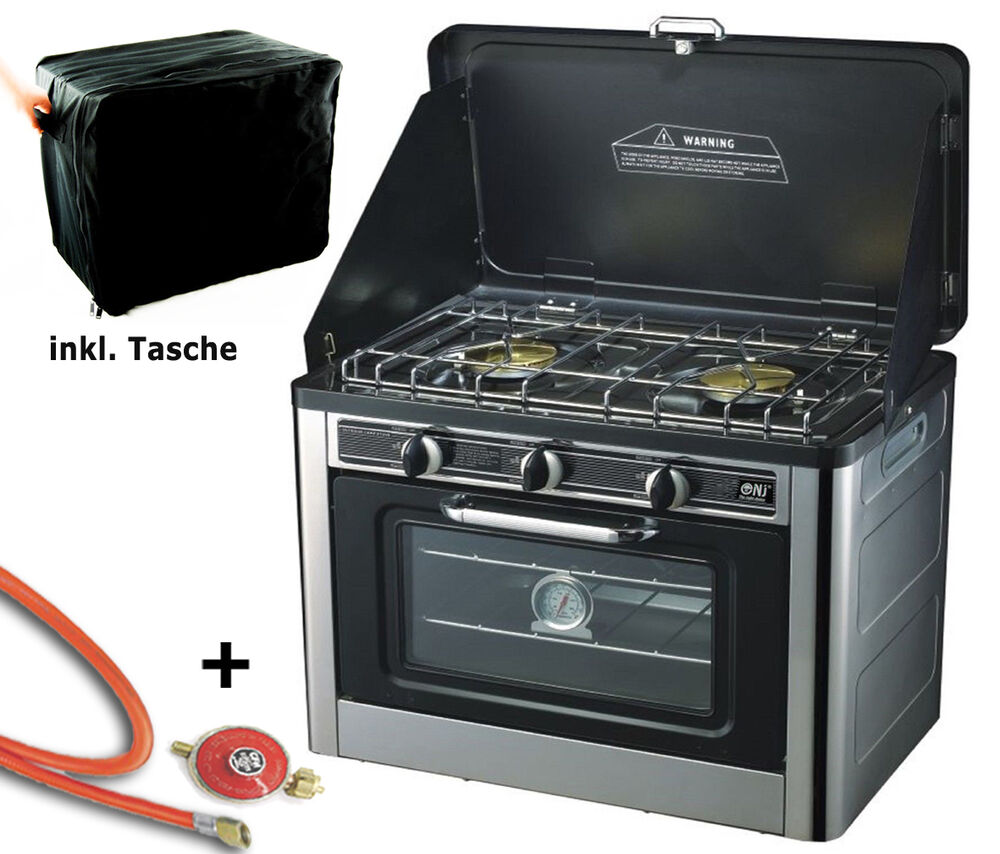 gas cooker 2 flame camping stove with oven with lid oven gas bbq gas stove 3800217799400 ebay