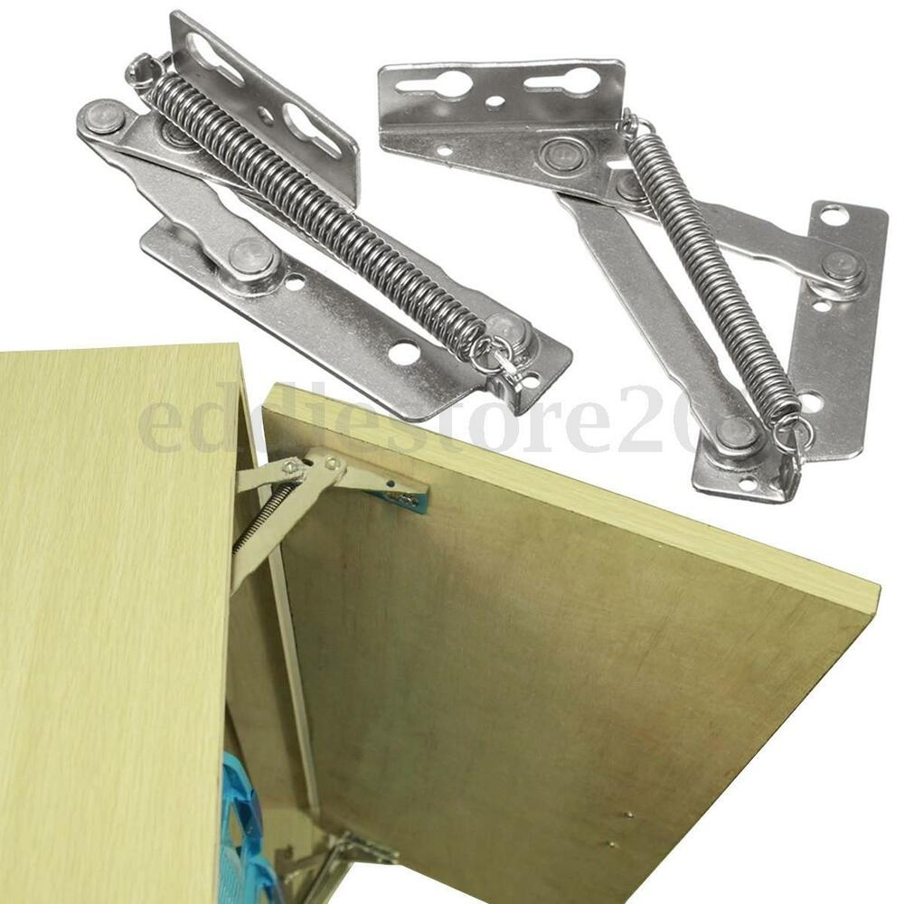Lift Hinges For Kitchen Cabinets: 2x 80° Sprung Hinges Cabinet Door Lift Up Stay Flap Top