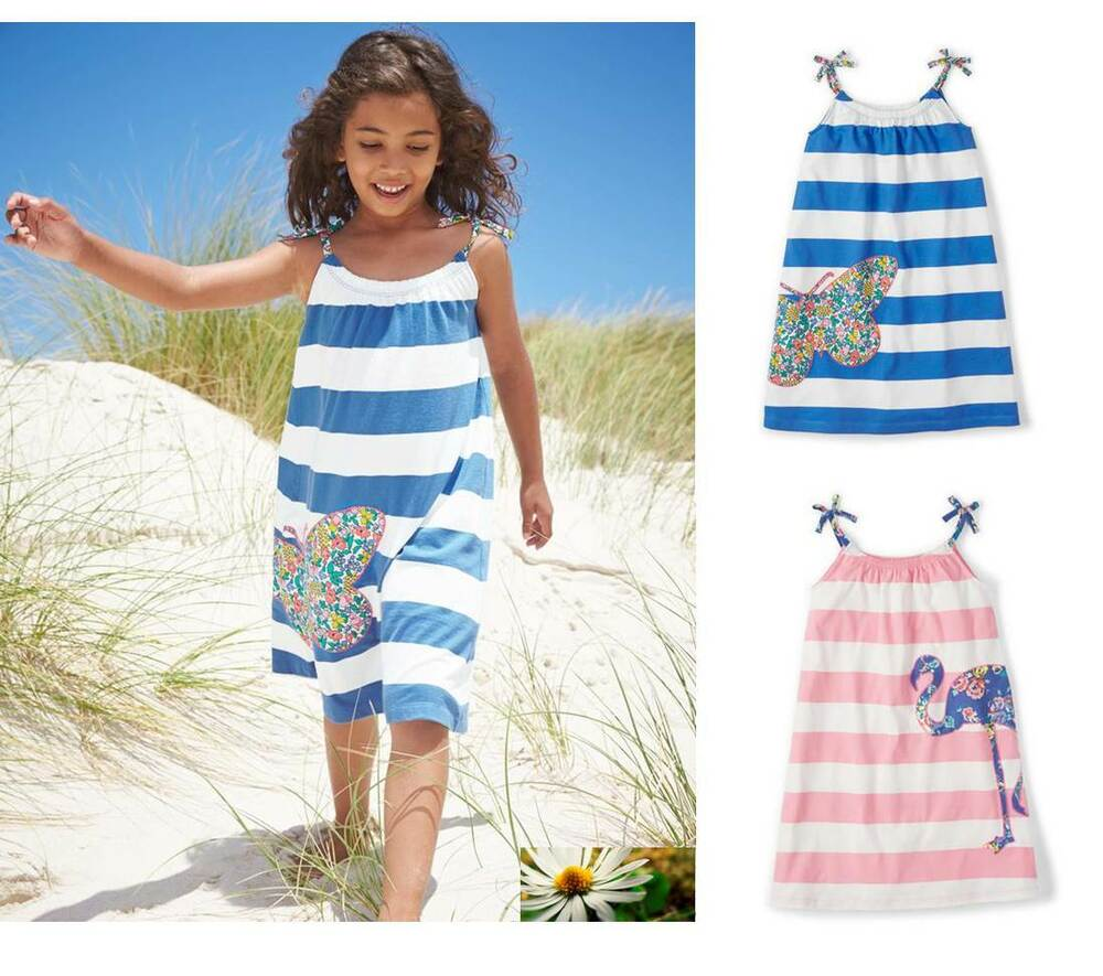 Mini boden girls jersey summer sun dress applique pink new for Mini boden winter 2016