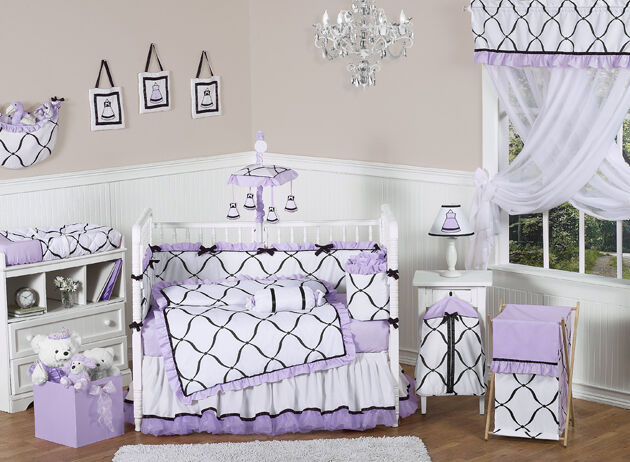 jojo discount luxury boutique black white and purple baby girl crib bedding set ebay. Black Bedroom Furniture Sets. Home Design Ideas