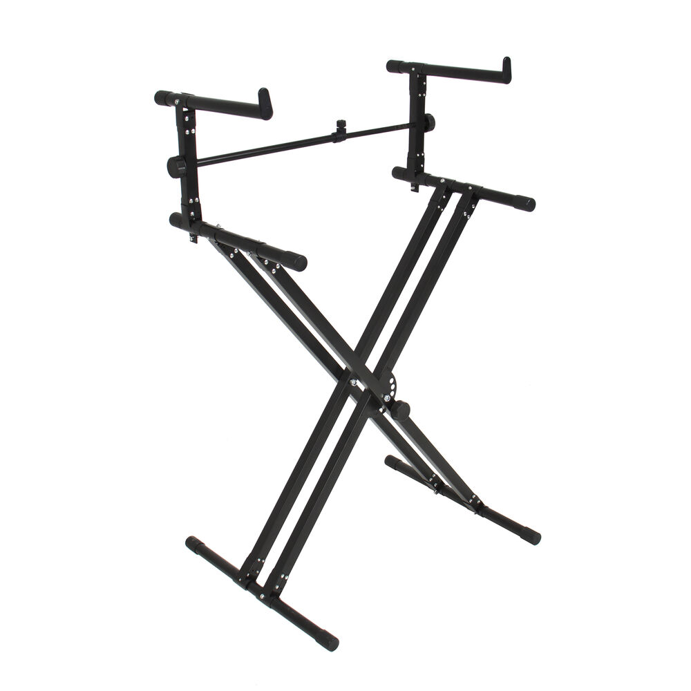 x style dual keyboard stand electronic piano double 2 tier adjustable ebay. Black Bedroom Furniture Sets. Home Design Ideas
