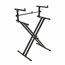 X Style Dual Keyboard Stand Electronic Piano Double 2-Tier Adjustable