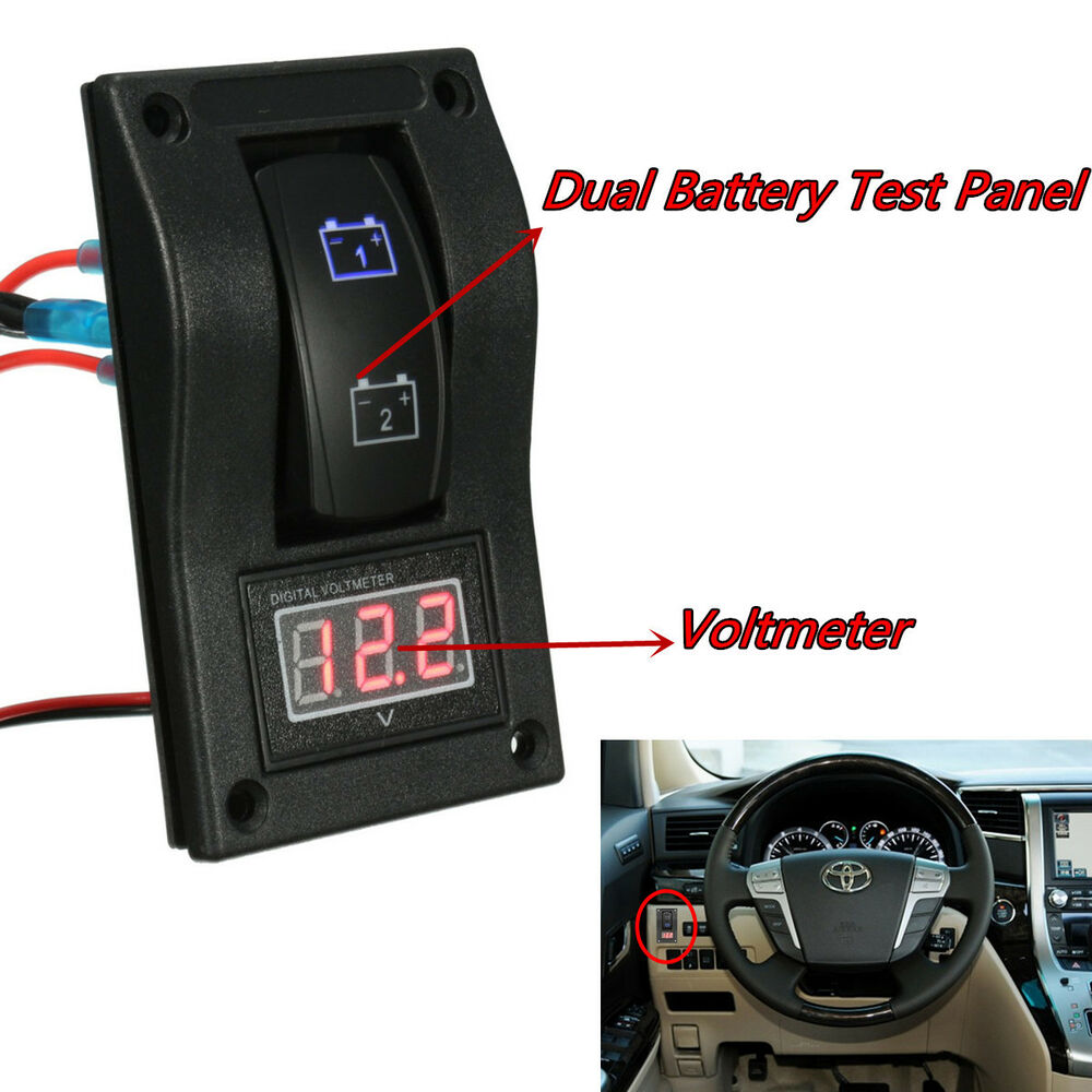12v car marine boat dual battery test panel rocker switch. Black Bedroom Furniture Sets. Home Design Ideas