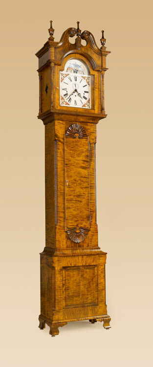 Grandfather Clock Tiger Maple Wood Chippendale Tall