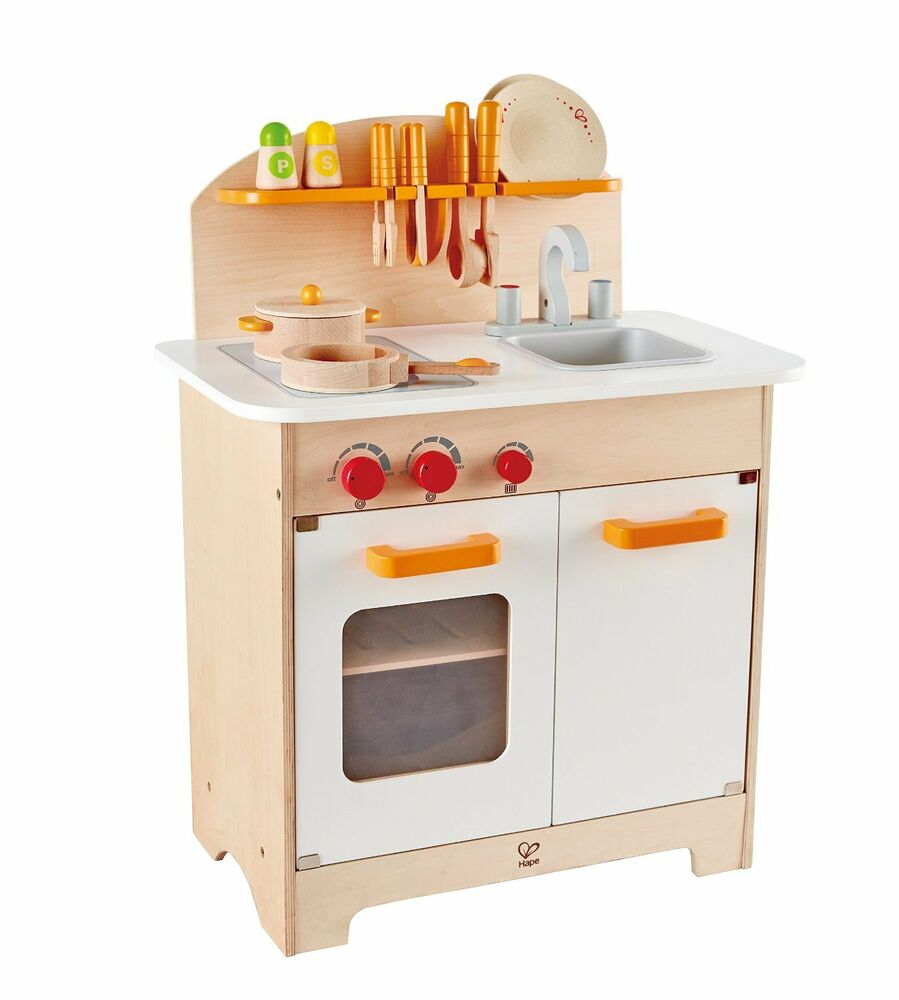 Hape e8116 gourmet chef kitchen and cookware wooden play for Kitchen set wooden