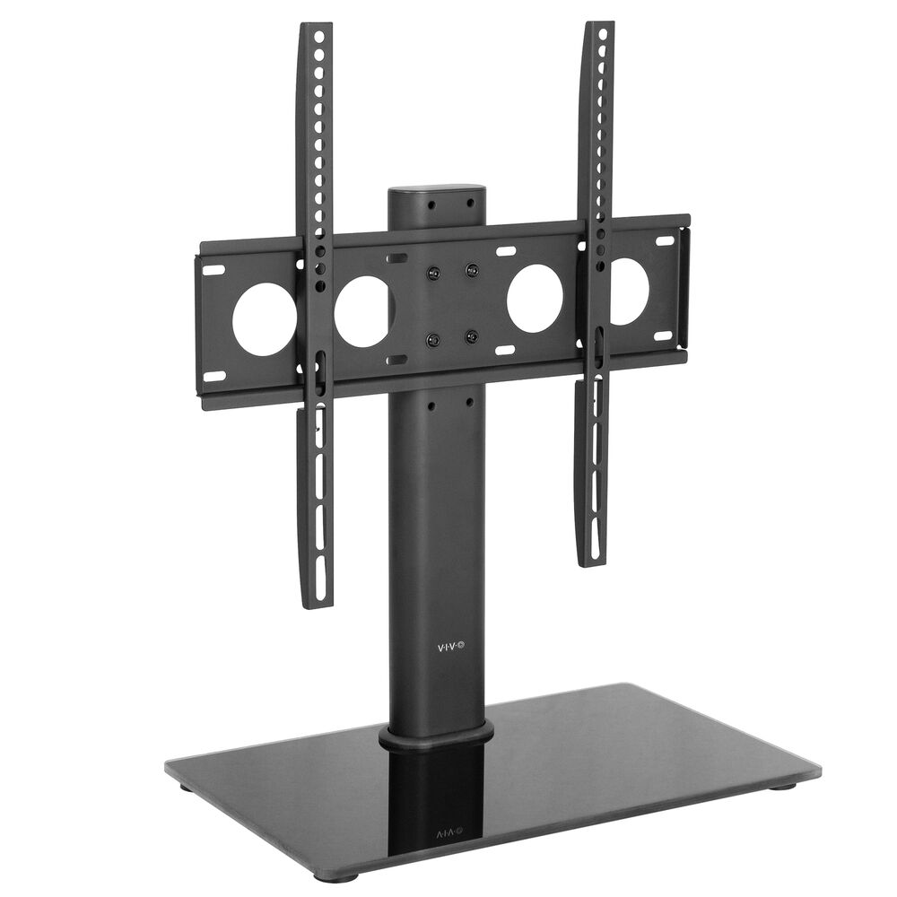 universal economic flat screen tv table top stand w glass base for 32 to 47 ebay. Black Bedroom Furniture Sets. Home Design Ideas