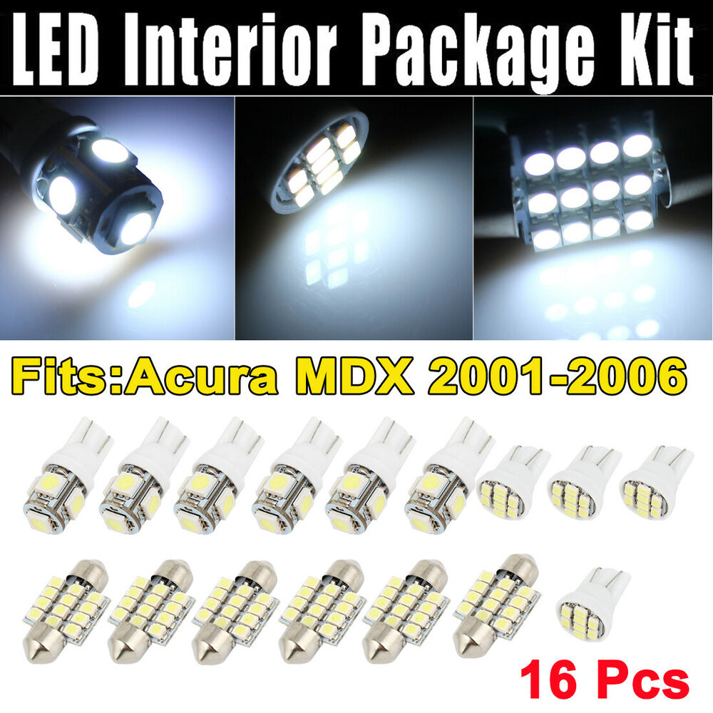 16 Pcs Dome Map White LED Lights Interior Package Kit For