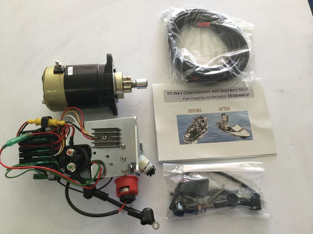 Mercury tohatsu 25 hp 30 hp electric start conversion kit for Electric outboard motor conversion