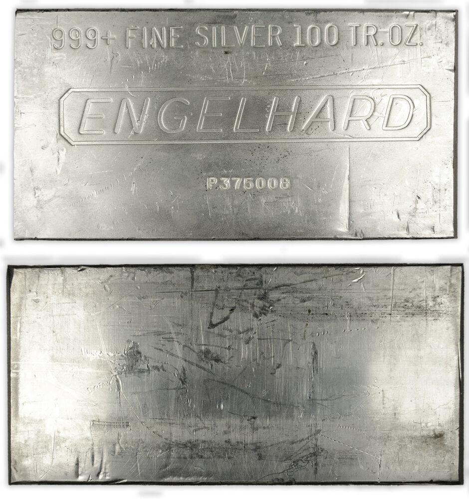 Engelhard 100 Troy Oz 999 Fine Silver Bar Secondary