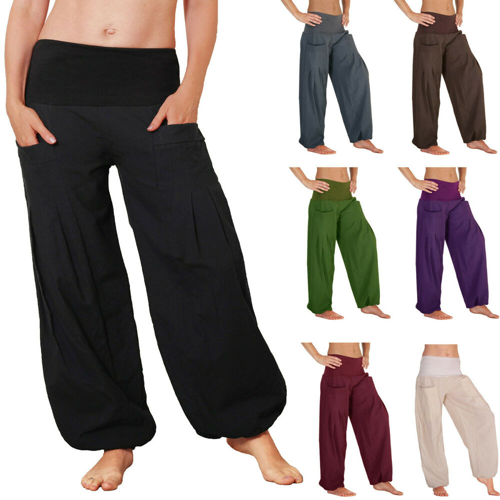 pumphose pocket hose mit taschen pluderhose damen herren yoga ballonhose ebay. Black Bedroom Furniture Sets. Home Design Ideas