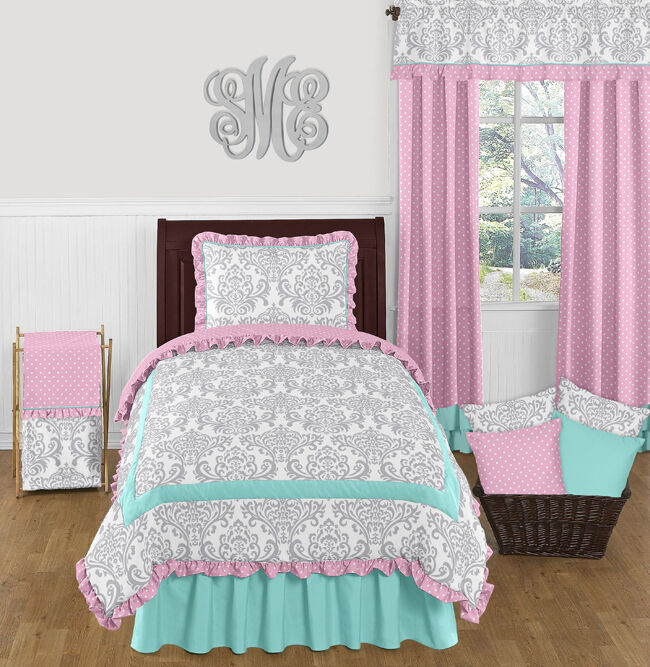 sweet jojo designs turquoise blue pink gray damask girl teen twin bedding set ebay. Black Bedroom Furniture Sets. Home Design Ideas