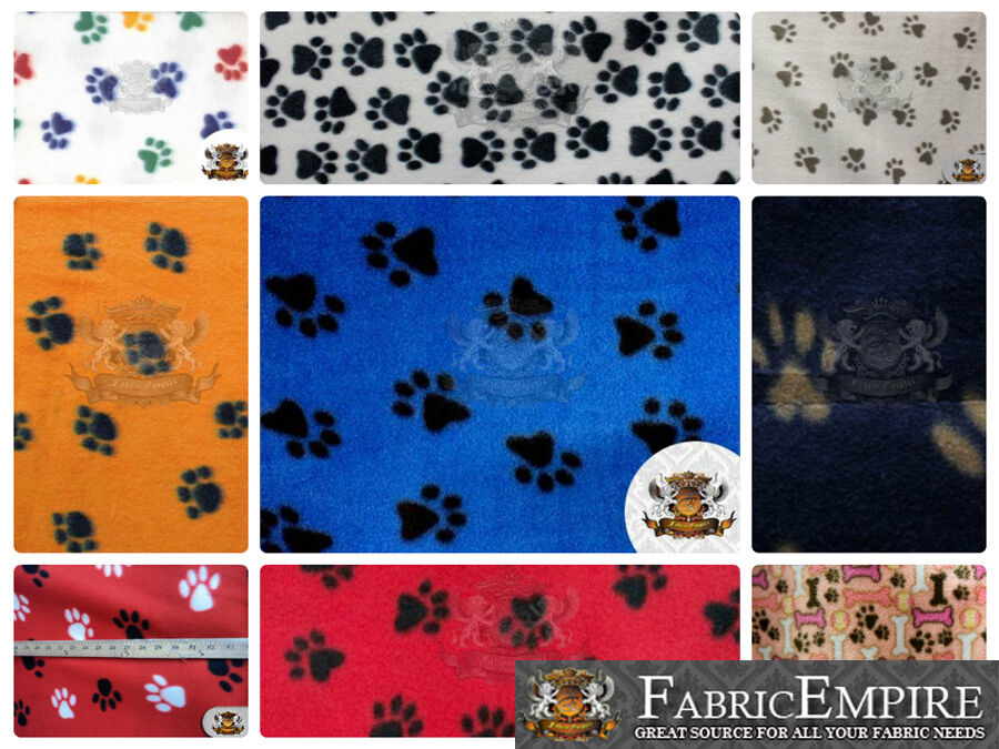polar fleece printed fabric paw print 60 wide sold by the yard ebay. Black Bedroom Furniture Sets. Home Design Ideas