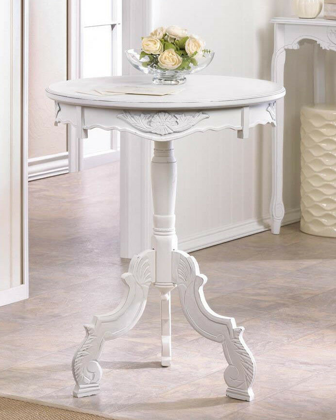 White Whitewashed Wood Round Shabby Baroque Pedestal End