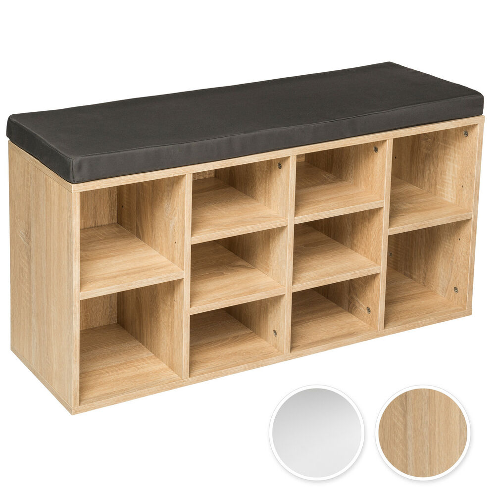 schuhschrank mit sitzkissen sitzbank schuhregal schuhablage 103 5x48x30cm ebay. Black Bedroom Furniture Sets. Home Design Ideas