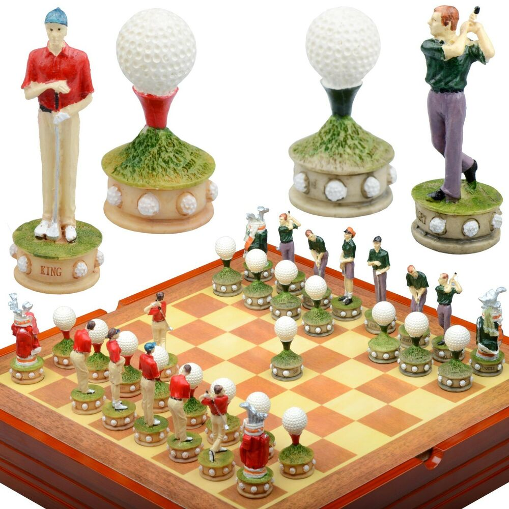 golf themed chess set resin pieces wood board and box another strategy ebay. Black Bedroom Furniture Sets. Home Design Ideas
