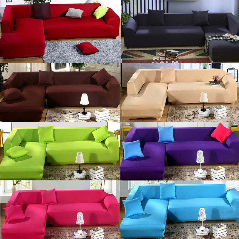 Fashion L Shape Stretch Elastic Fabric Sofa Cover Sectional Corner Couch Covers Ebay