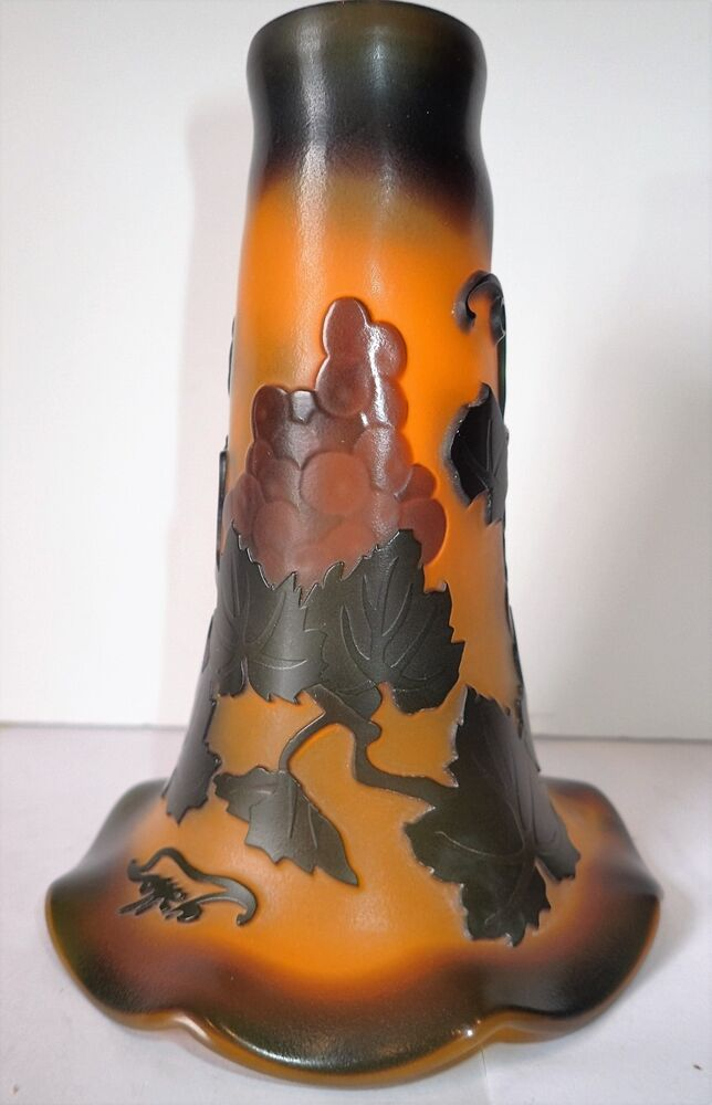 Galle Style Sculptured Lily Shade Art Glass Lilly Lamp
