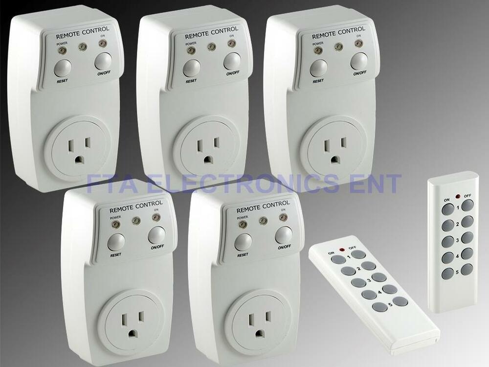 wireless remote controlled switch socket outlet 5 pack. Black Bedroom Furniture Sets. Home Design Ideas