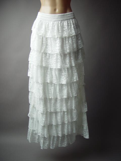 White Lace Tiered Ruffle Victorian 1800s Plus Long Maxi