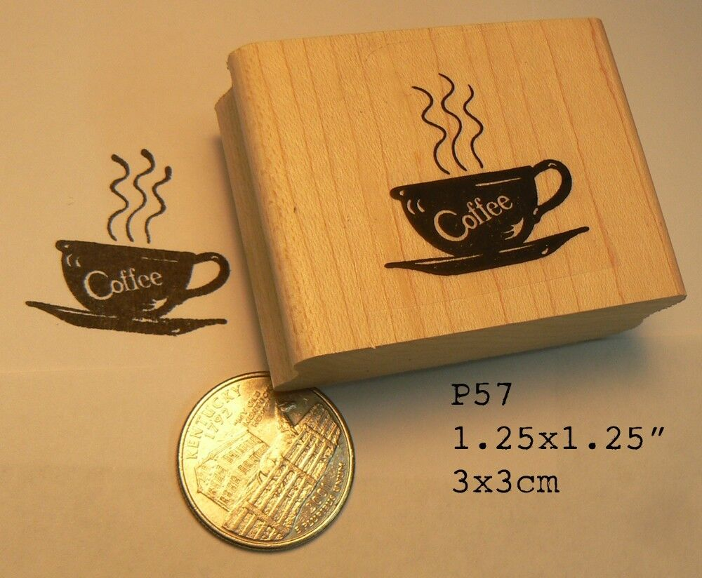 Polka/_Dot Coffee Cup Steaming Morning Joe Studio G Wooden Rubber Stamp