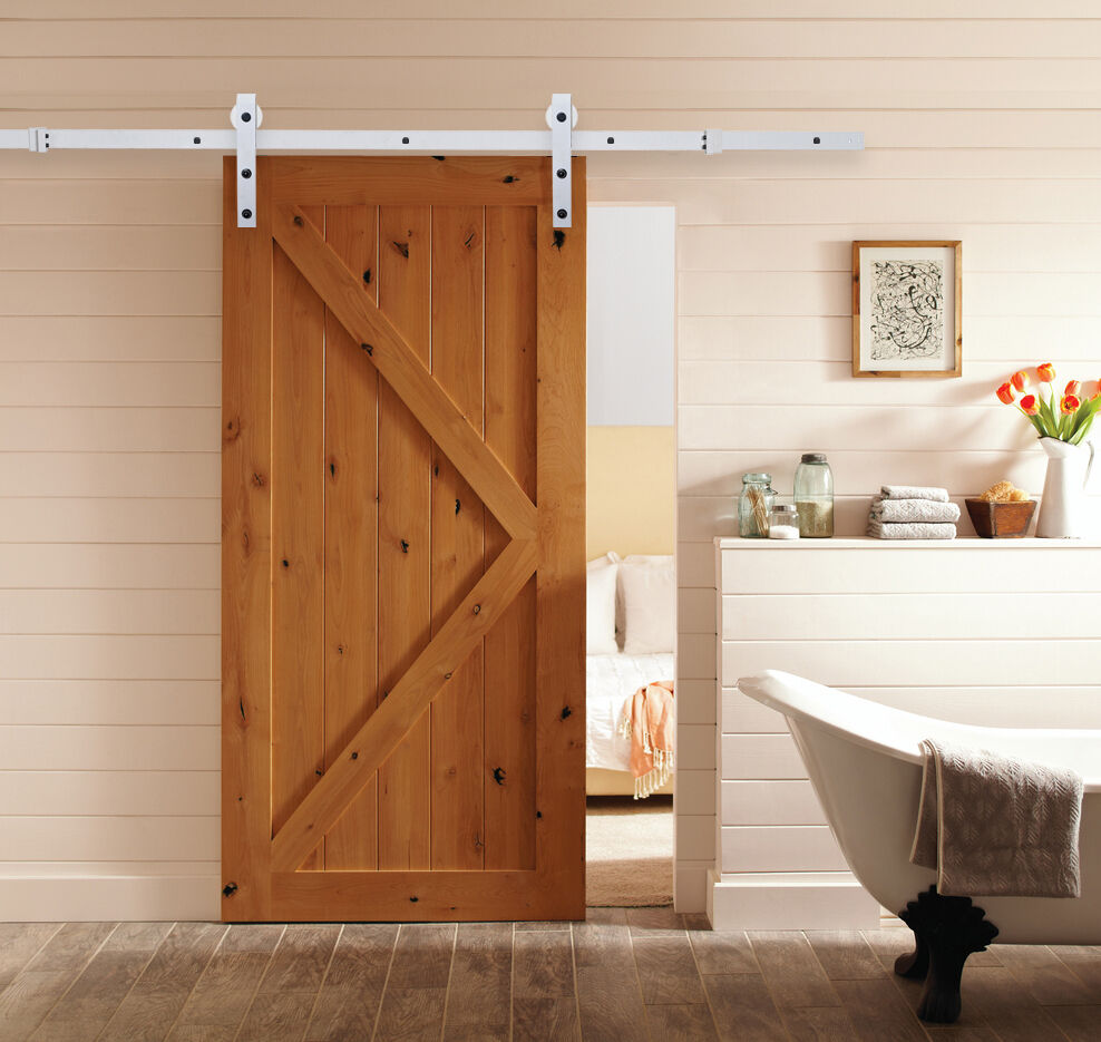 Frosted white steel sliding barn rustic wood door closet for Wooden sliding doors