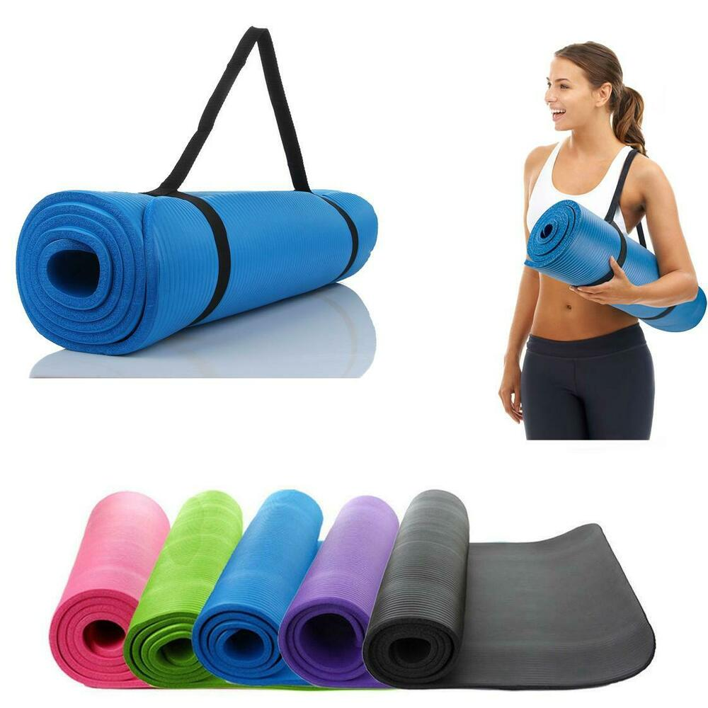 10mm Thick Yoga Mat Exercise Fitness Pilates Camping Gym