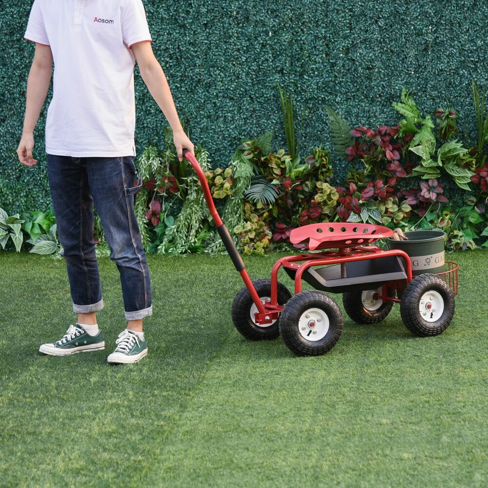 Outsunny Adjustable Rolling Garden Cart Gardening Tool