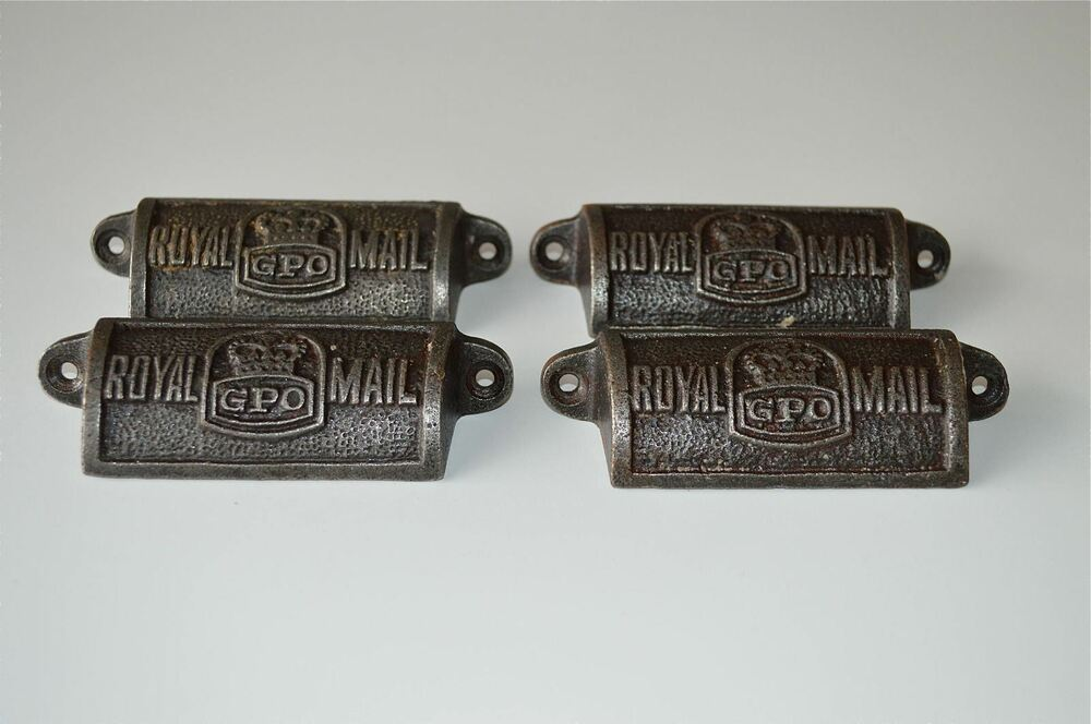4 Vintage Cast Iron Royal Mail GPO Drawer Pull Handles