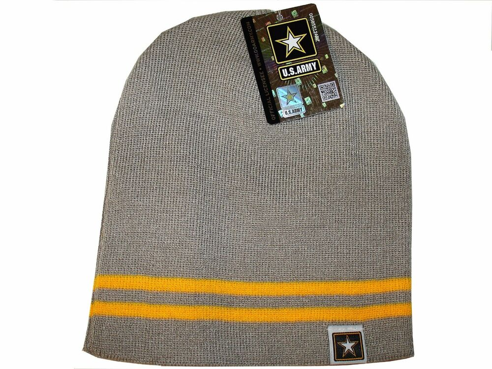 70f2a1996ae Details about Grey Gold Army Star Logo Military US Watch Stocking Cap  Beanie Winter Stocking