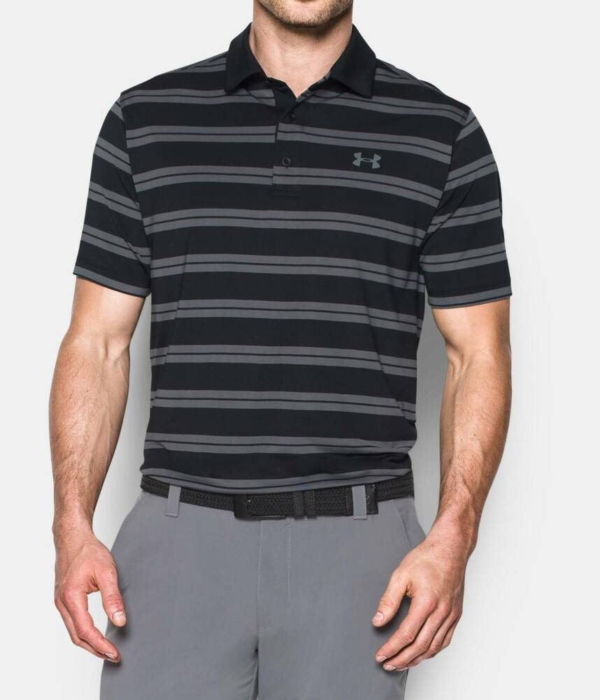 New under armour heatgear striped loose fit polo golf for Black golf polo shirt