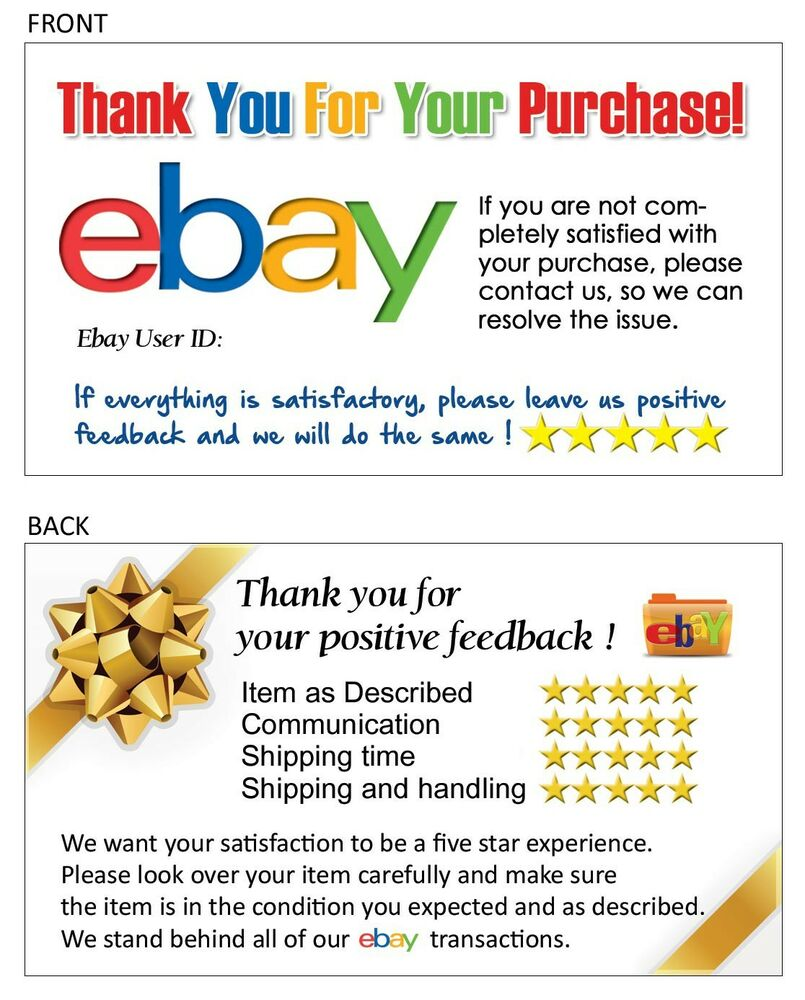 100 thank you business card for ebay seller free shipping for Ebay feedback request template