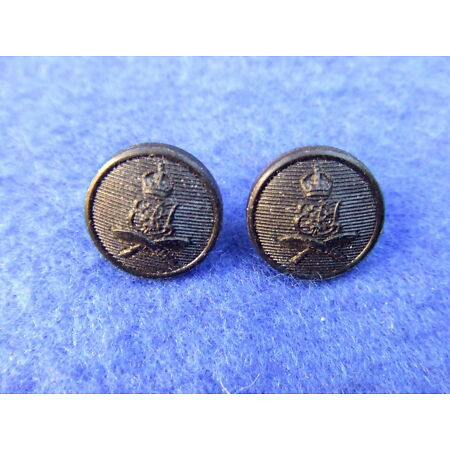 img-RARE PAIR 2ND KING EDWARD VII OWN GURKHA RIFLES 14MM BLACK PILL BOX CAP BUTTONS