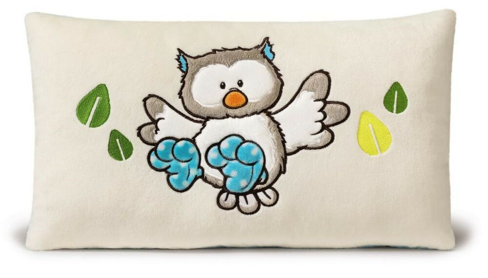 nici forest friends eule kissen 43x25cm pl sch kuschelkissen owl geschenk 39627 ebay. Black Bedroom Furniture Sets. Home Design Ideas