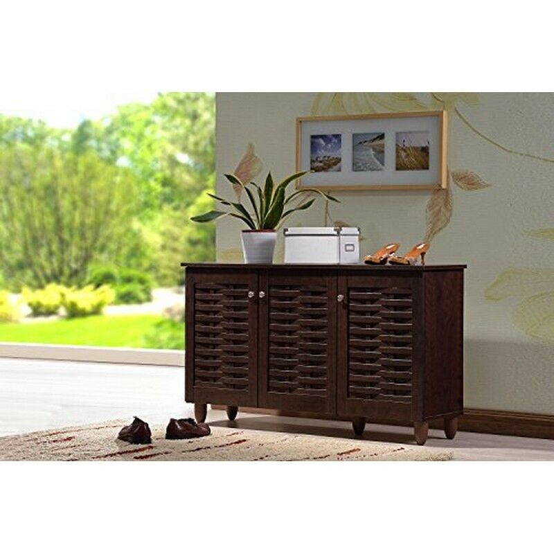 Modern contemporary 3 door dark brown wooden entryway Entryway storage cabinet