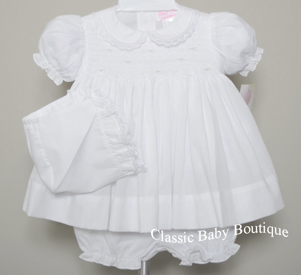 NWT Petit Ami White Smocked Lace 3PC Dress Preemie Reborn