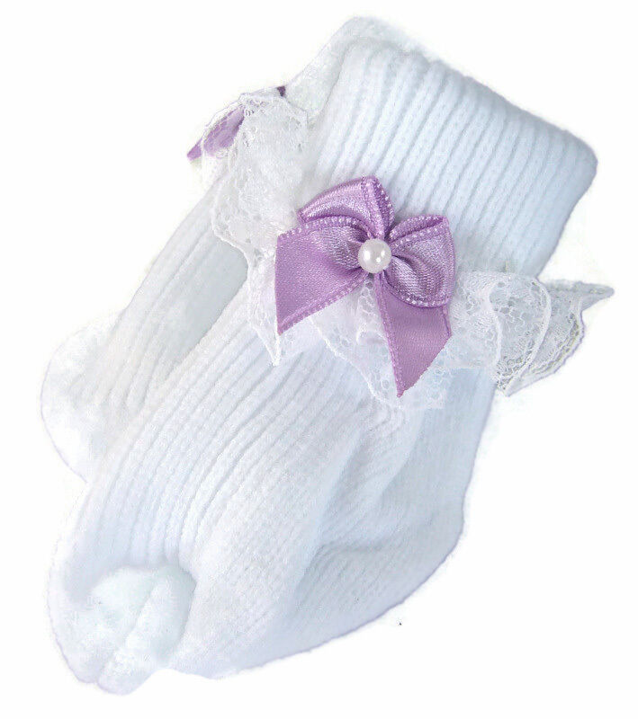 Lavender Bow Lace Trim Socks for Bitty Baby Twins Doll