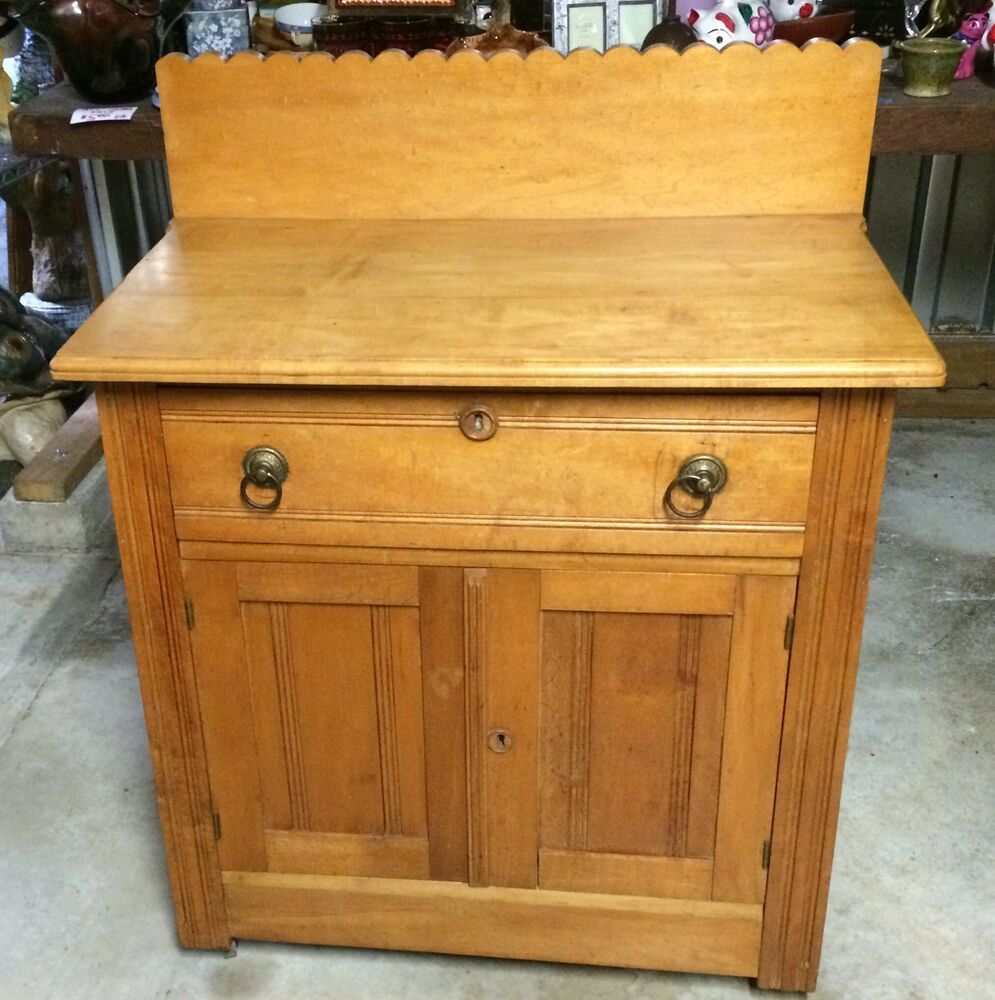 Antique 1800s Eastlake Washstand Side Table Vanity Dresser