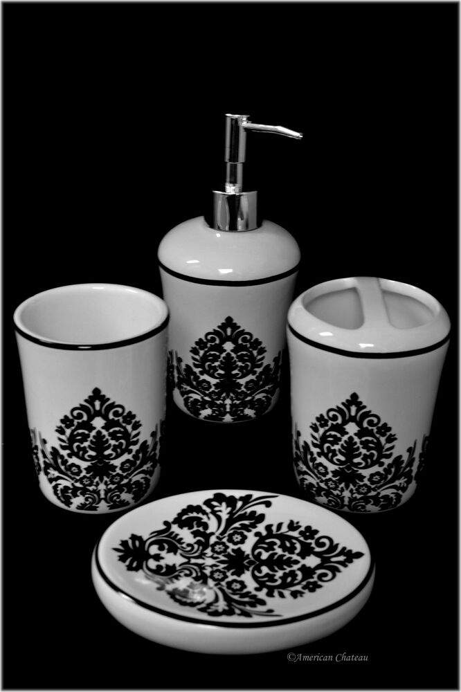4 piece black white ceramic damask bathroom accessory for Ceramic bathroom bin