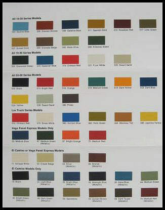 1974 Chevy Chevrolet Truck Paint Chip Color Chart Orig Ebay